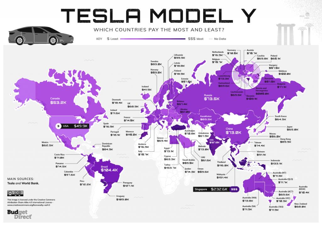 Map of Tesla Worldwide Index Model Y