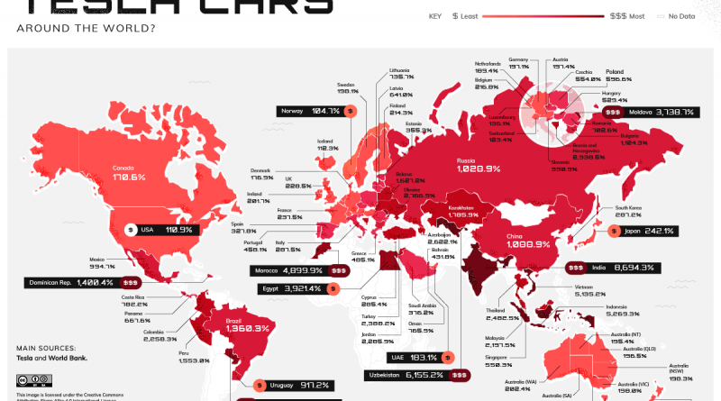 Map of Tesla Worldwide Index Price vs Local wages