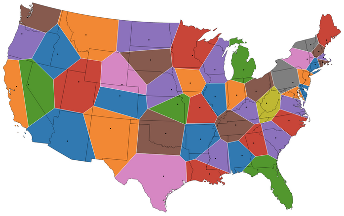 Voronoi map of the United States