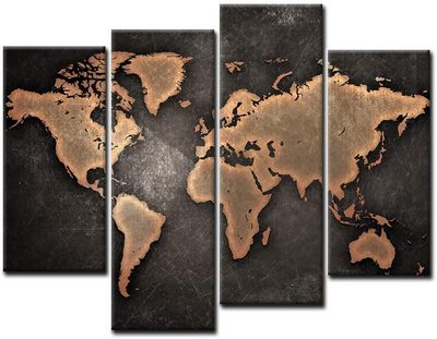 World Map Black Background Wall Art Painting Map Poster On Canvas