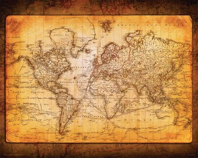 Old Style Decorative Wall Map Poster