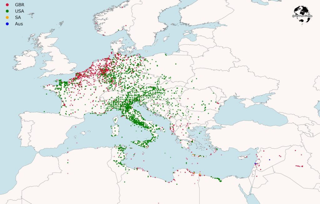 Map of western allies air missions through WW II