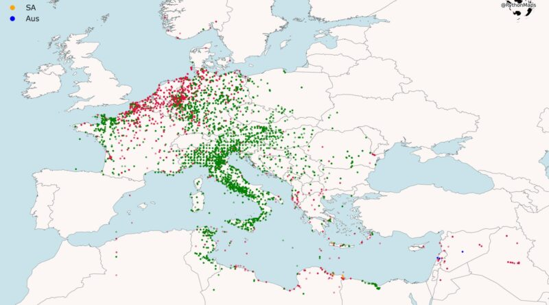 The maps below created by Reddit user: symmy546 is visualizing the bombing attacks campaign of the western allies in World War 2. Every point describes a bombardment attack led by the allies. The points are colored according to the country