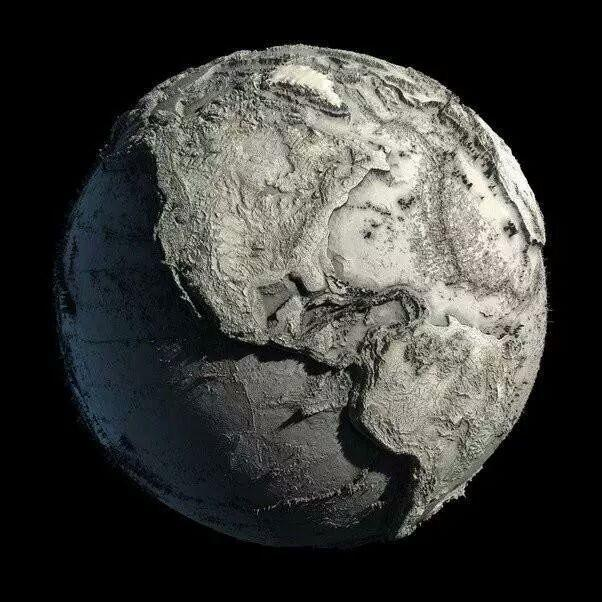 Map of the Earth without water