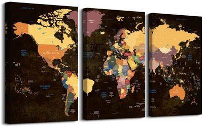 World Map Poster Canvas Wall Art