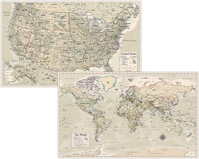 Antique Map Posters of the World and the U.S.