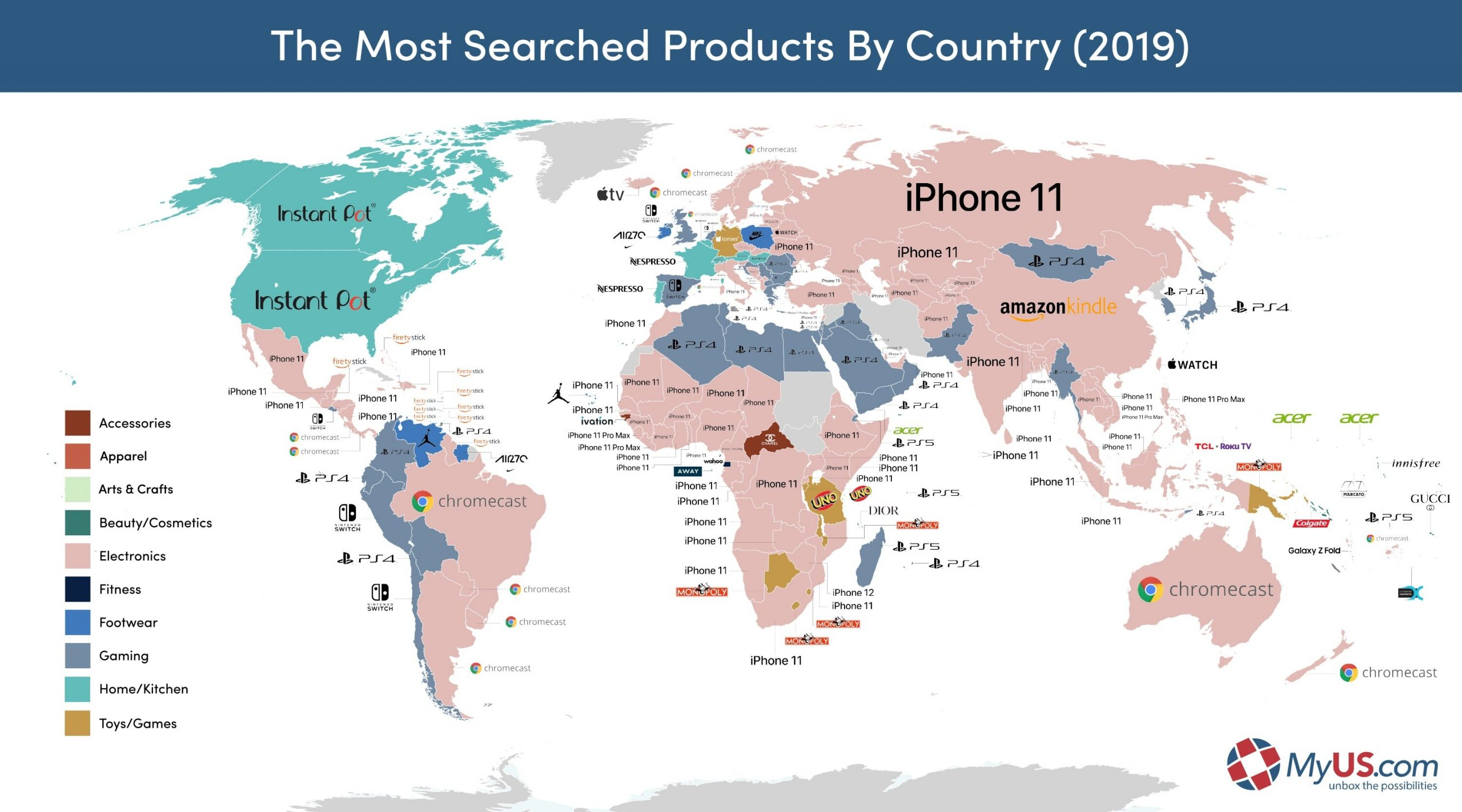 Map of the most searched products in 2019