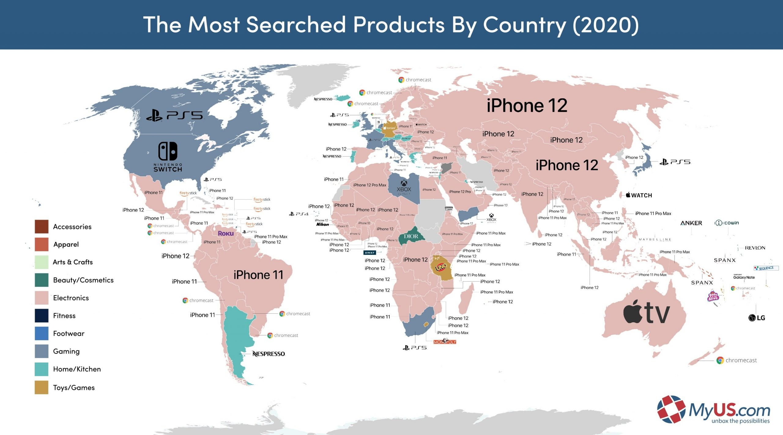 Map of the most searched products in 2020