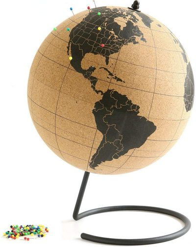 Cork Globe with 50 Different Colored Push Pins
