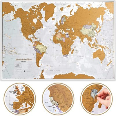 The Scratch-off World Travel Map Poster