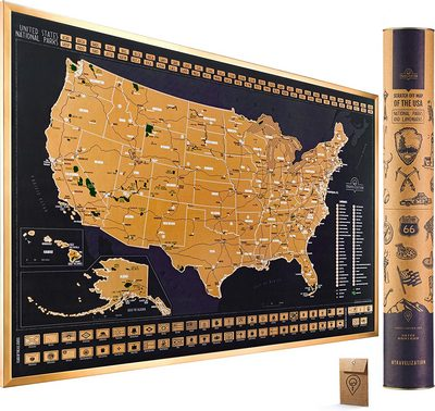 Scratch-Off Travel Map of the U.S. National Parks
