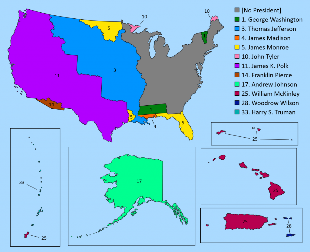 Map of American territorial acquisitions sorted by president