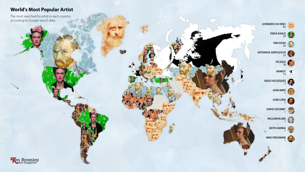 Map of the most searched artist in every nation