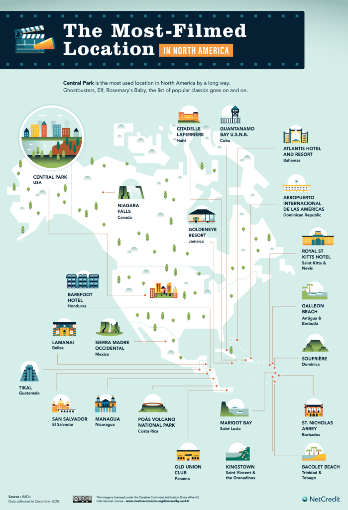 Map of the most-filmed location in North America
