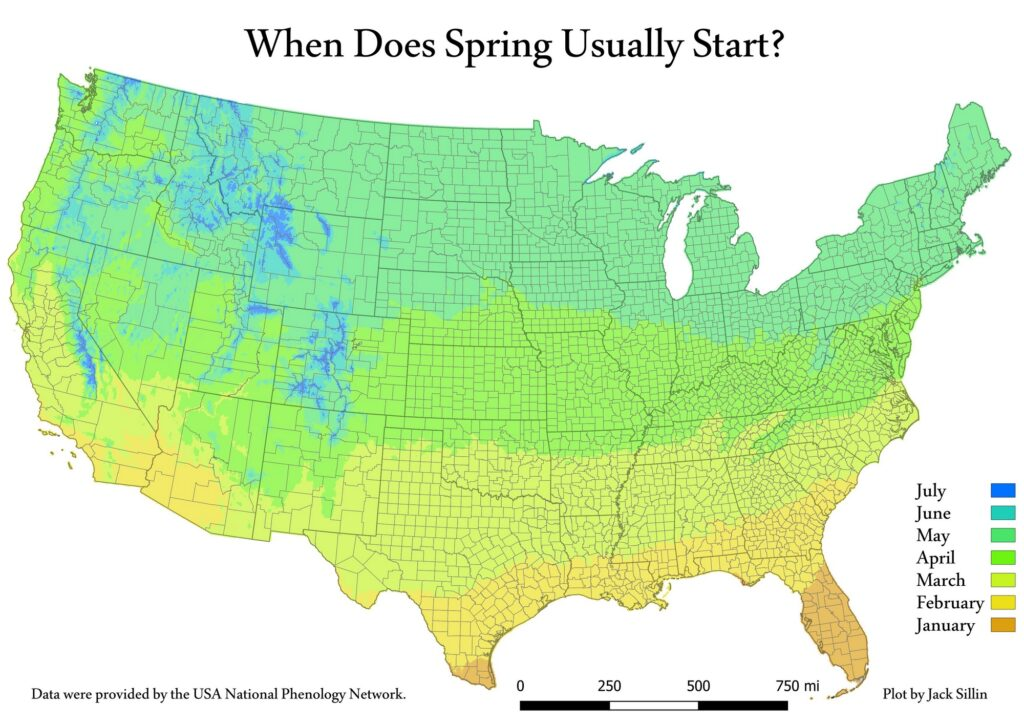 When Does Spring Usually Start in the U.S. mapped