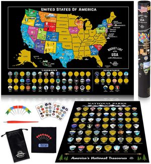 Scratch-Off Map of the United States and U.S. National Parks Scratch-Off Poster