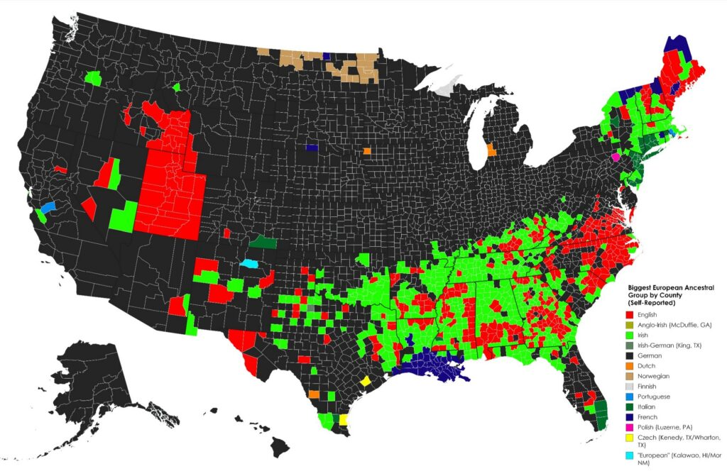 Map of Biggest European Ancestral Group by U.S. county