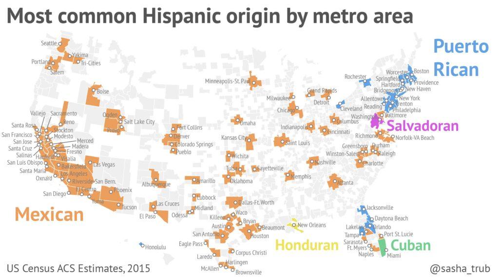 Map of the most common Hispanic origin by metro area