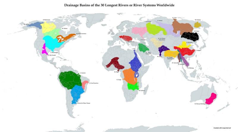 Basins of the longest rivers