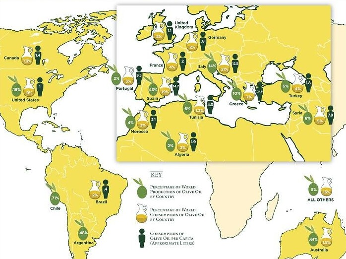 Map of olive oil production and consumption
