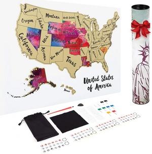 Scratch-Off USA Map Poster