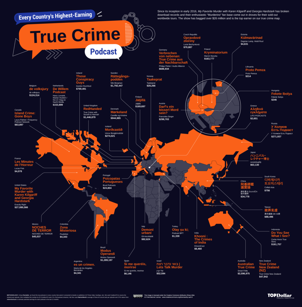 Every Country's Highest-Earning True Crime Podcast Mapped