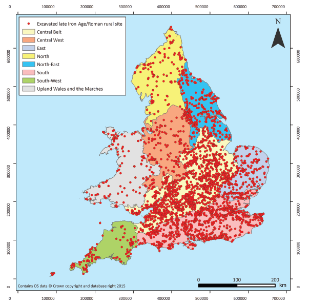 The map of Roman settlements in England