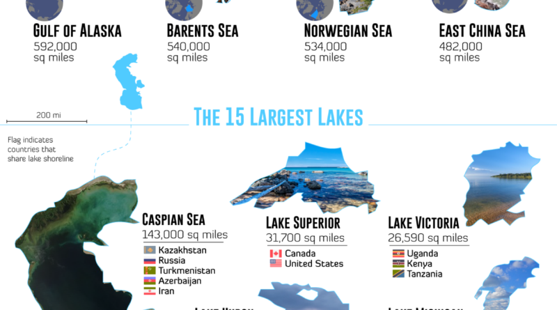 Map of the largest water bodies