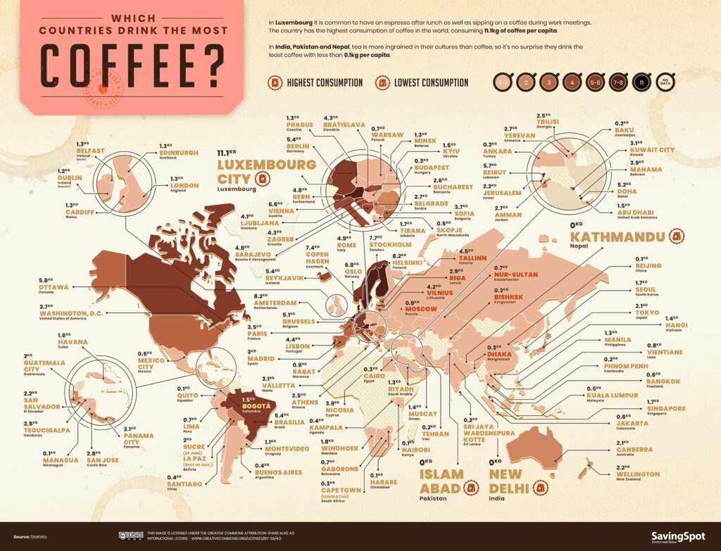 Map of World Coffee Index World Consumption