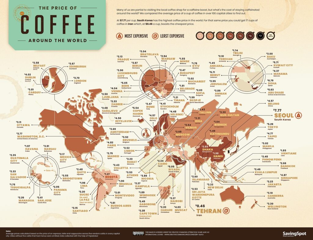 The price of coffee around the world mapped