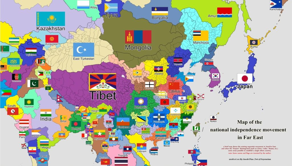 Map of separatist movements in Asia