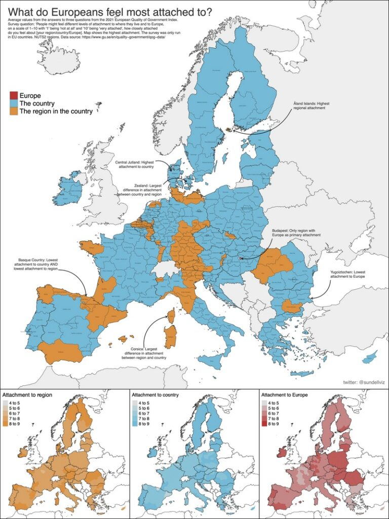 Map of What do Europeans feel most attached to?