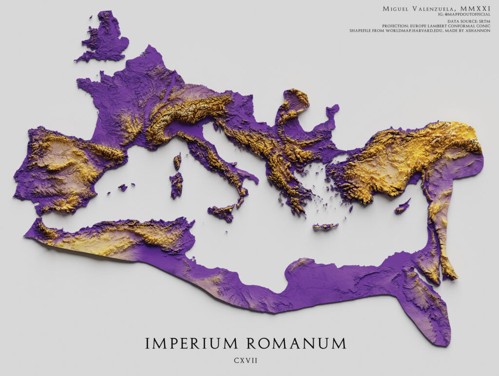 Relief map of the Roman Empire