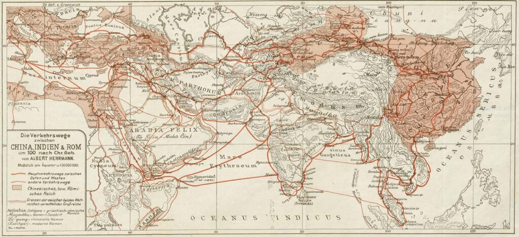 Trade routes between China, India and Rome around the year 100 mapped