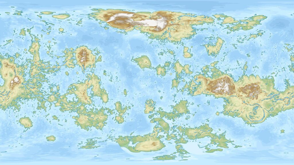 Map of Venus with water