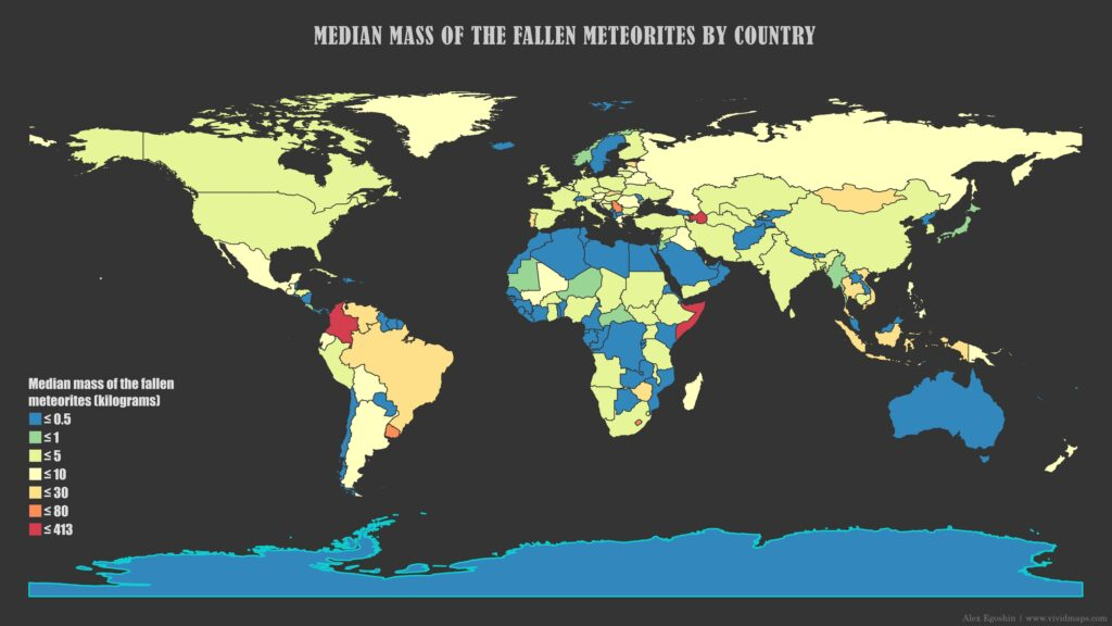 Map of median mass of all fallen meteorites by country