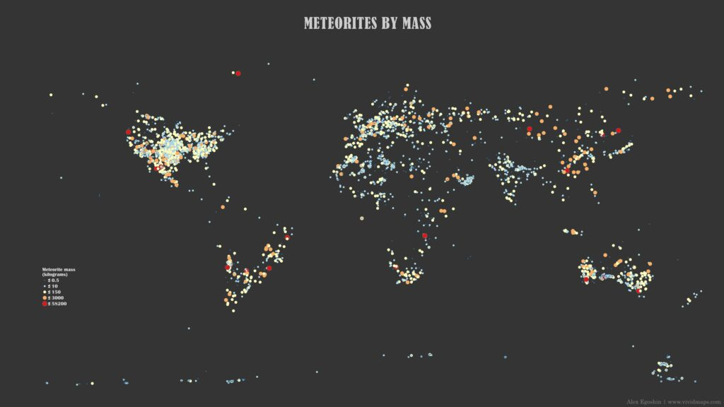 Map of Meteorites by mass