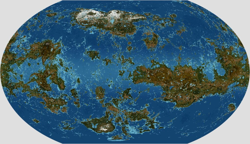 The physical map of Venus with oceans