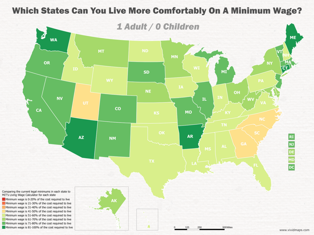 Which States Can You Live More Comfortably On A Minimum Wage: 1 Adult / 0 Children
