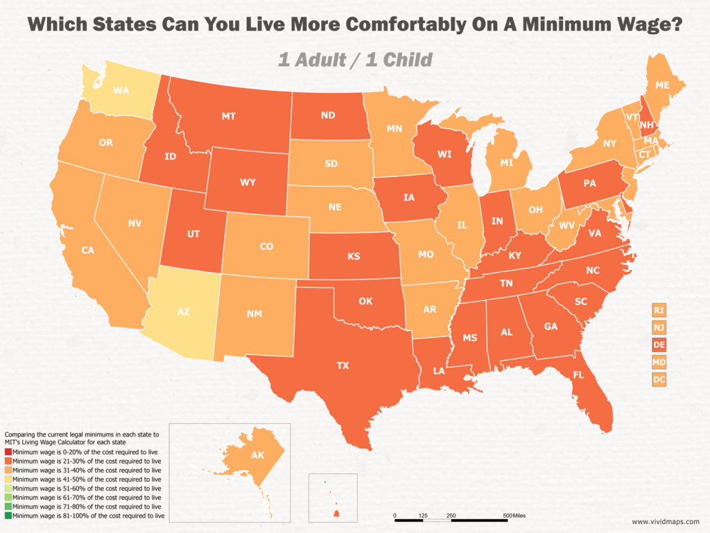 Which States Can You Live More Comfortably On A Minimum Wage: 1 Adult / 1 Child