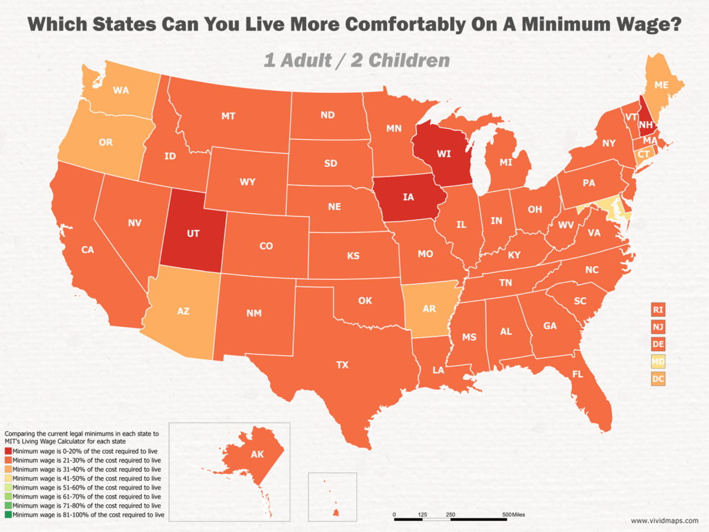 Which States Can You Live More Comfortably On A Minimum Wage: 1 Adult / 2 Children