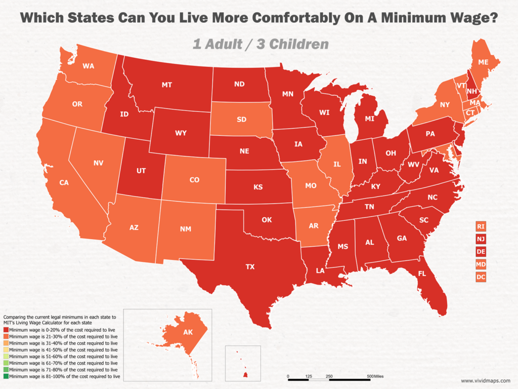 Which States Can You Live More Comfortably On A Minimum Wage: 1 Adult / 3 Children