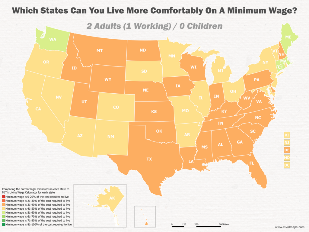 Which States Can You Live More Comfortably On A Minimum Wage: 2 Adults (1 Working) / 0 Children