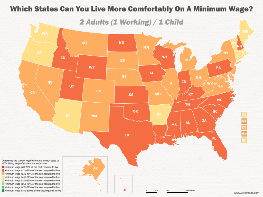 Which States Can You Live More Comfortably On A Minimum Wage: 2 Adults (1 Working) / 1 Child