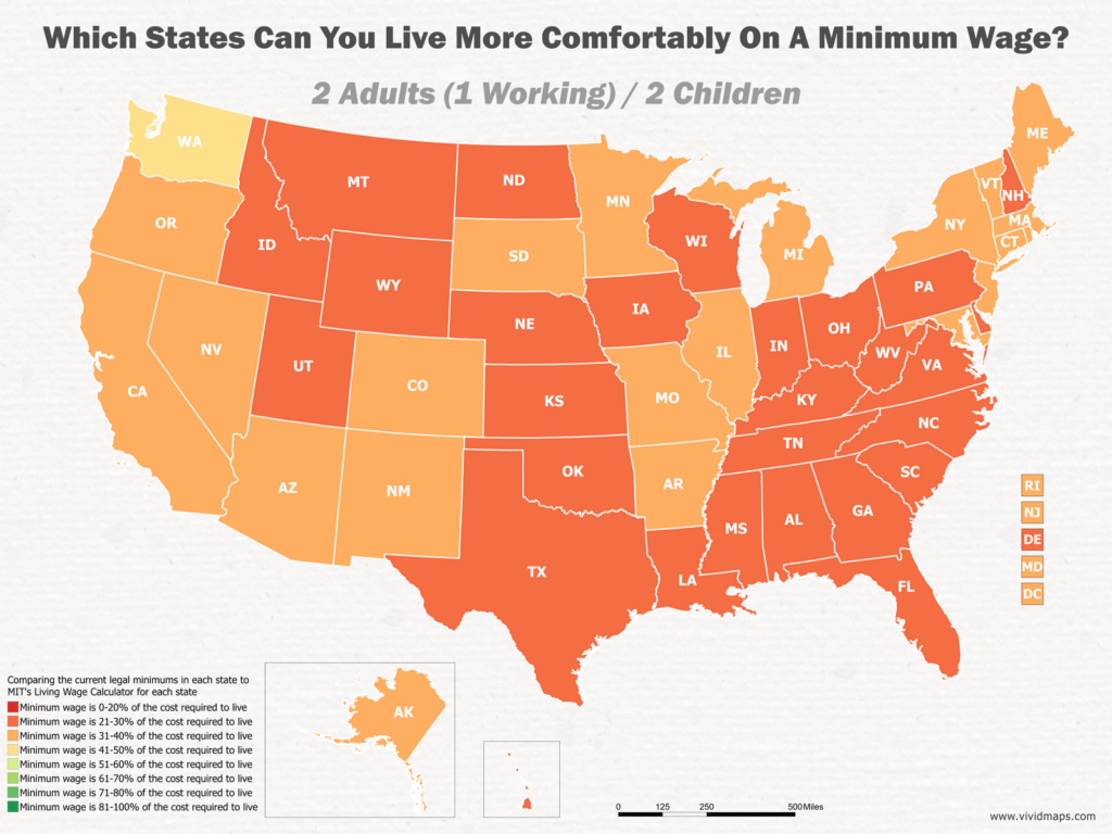 Which States Can You Live More Comfortably On A Minimum Wage: 2 Adults (1 Working) / 2 Children