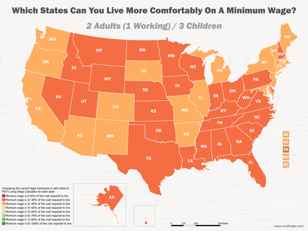 Which States Can You Live More Comfortably On A Minimum Wage: 2 Adults (1 Working) / 3 Children