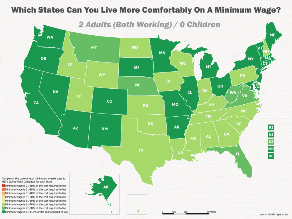 Which States Can You Live More Comfortably On A Minimum Wage: 2 Adults (Both Working) / 0 Children