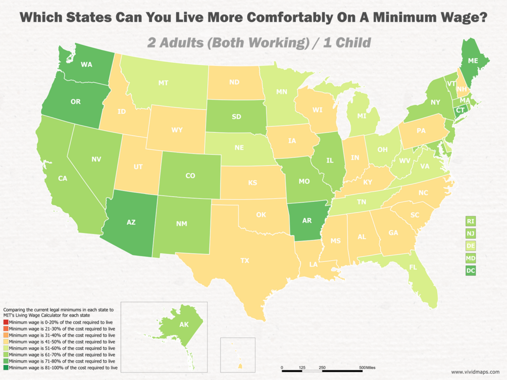 Which States Can You Live More Comfortably On A Minimum Wage: 2 Adults (Both Working) / 1 Child