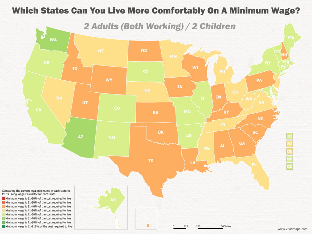 Which States Can You Live More Comfortably On A Minimum Wage: 2 Adults (Both Working) / 2 Children