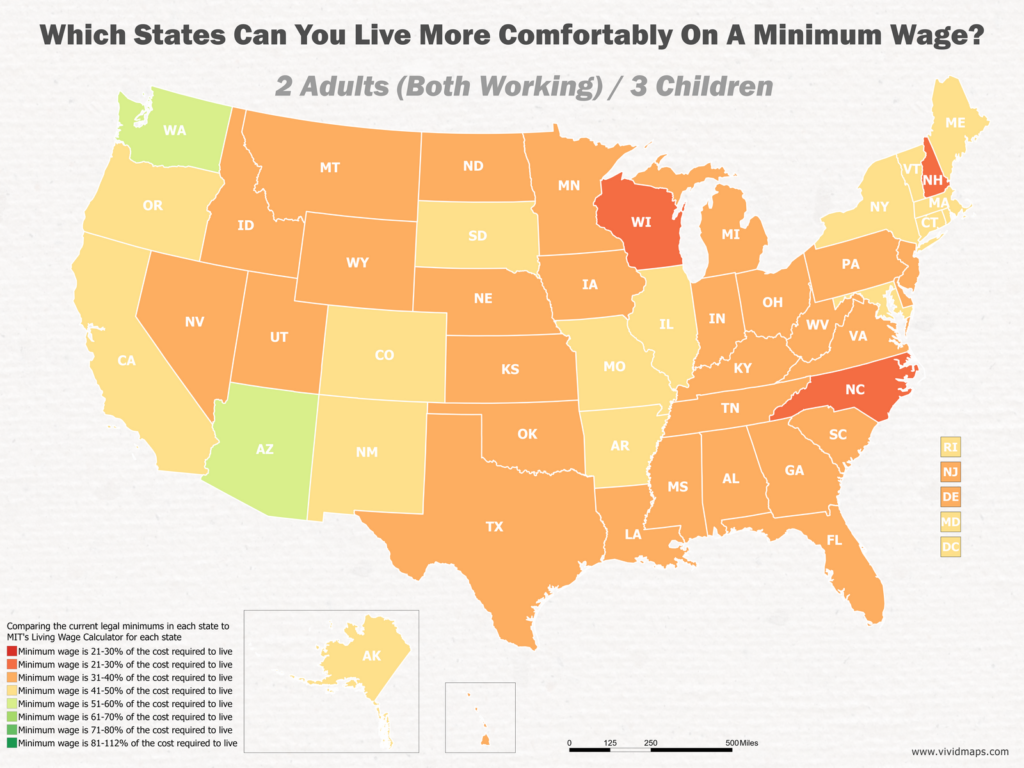 Which States Can You Live More Comfortably On A Minimum Wage: 2 Adults (Both Working) / 3 Children